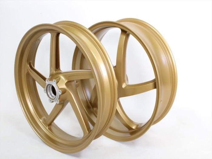 バイクホイール塗装:ゴールドパウダーコート