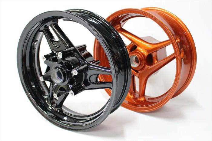 バイクホイール塗装:ダイヤモンドコーティング、パウダーコート